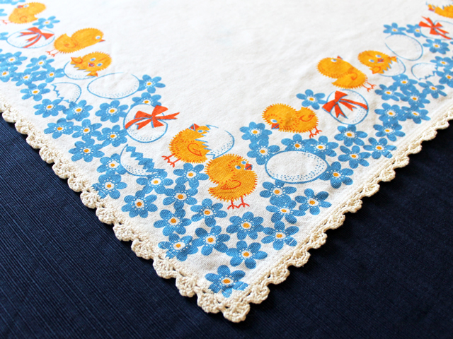 vintage easter table cloth