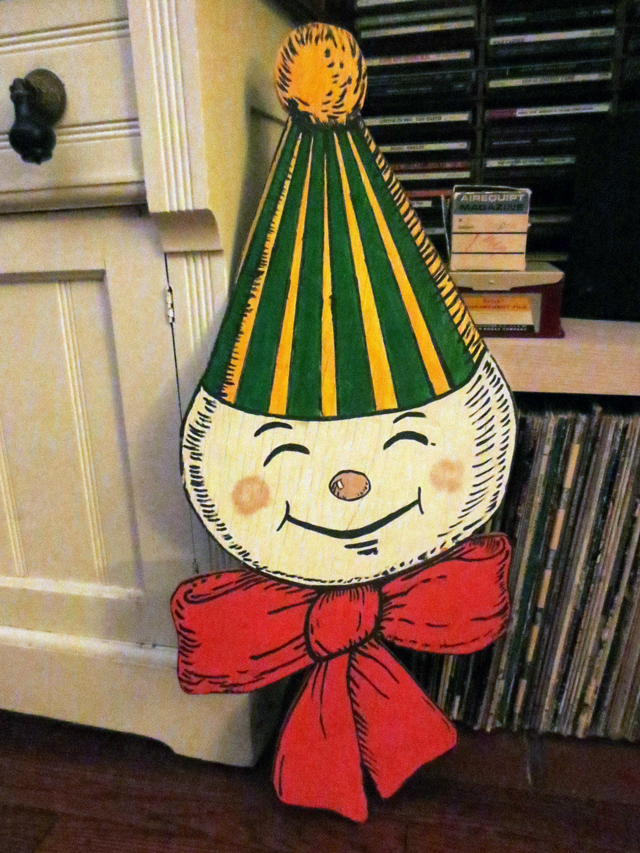 vintage snowman wooden cut out