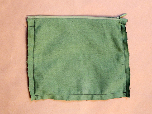 zippered cotton lining for crocheted purse