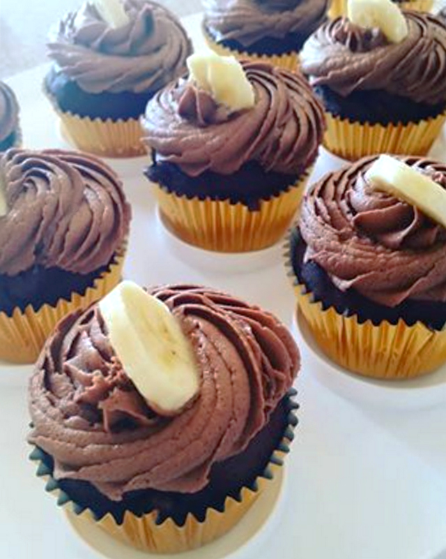 chocolate banana cupcakes baked by andrea