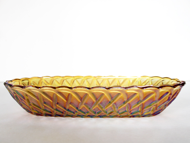 amber carnival glass vintage pressed glass oval bowl from thrift store
