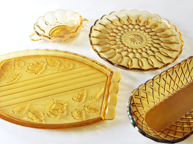 amber pressed glass collection