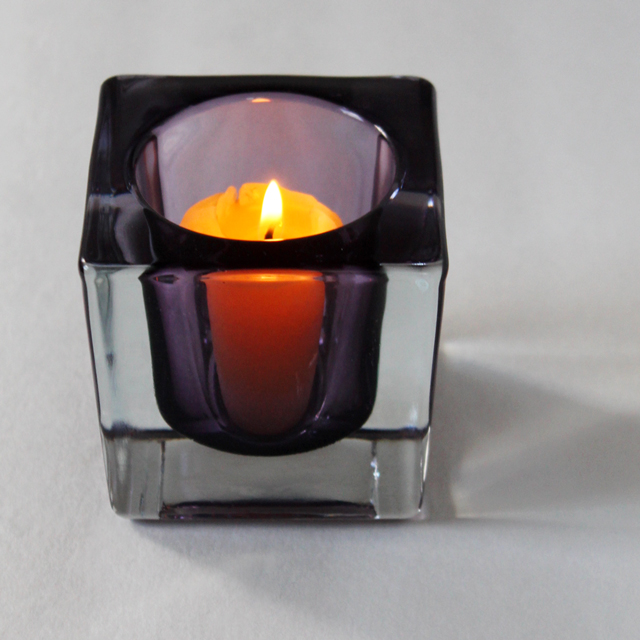 czechoslovakia crystal purple candle holder from thrift store