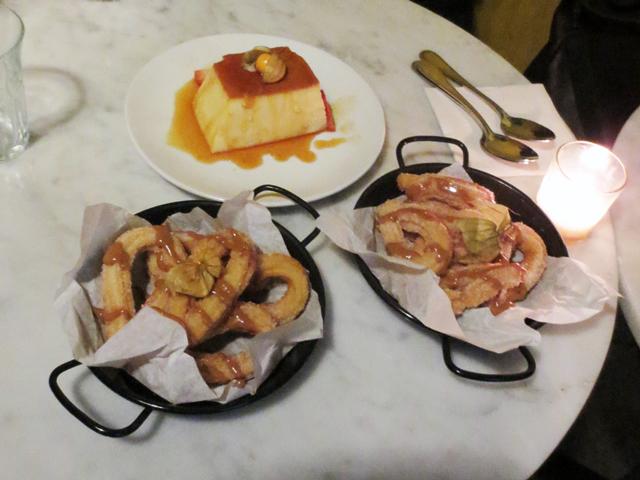 dessert at carmen restaurant toronto churros and leche caramel
