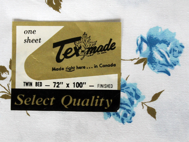 label for vintage tex made cotton bed sheet