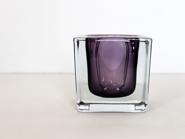 lead crystal candle holder czechoslovakia purple thrifted