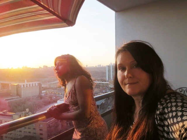 me and leslie at sunset