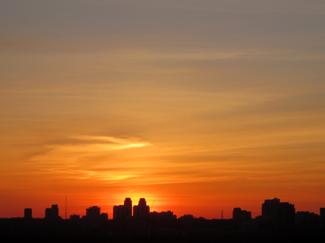 sunset over north toronto