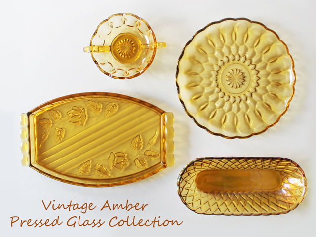 vintage amber pressed glass collection thrifted