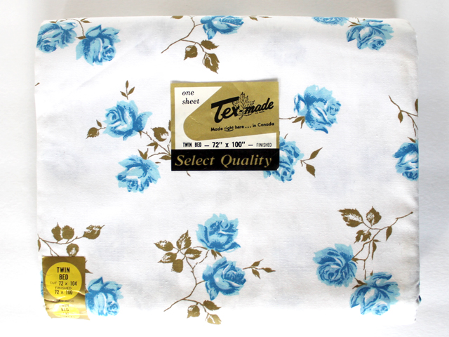 vintage new texmade cotton bed sheet blue roses