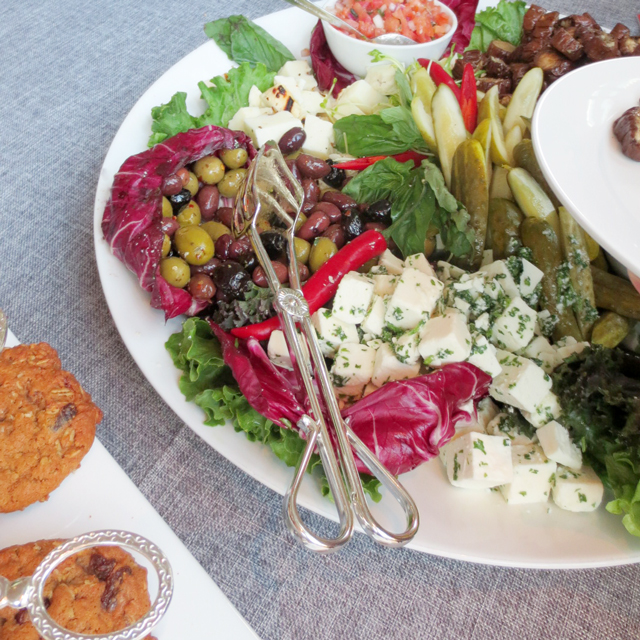 middle eastern style mixed appetizer platter at event