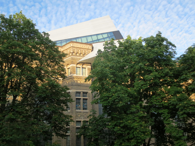 royal ontario museum as seen from outdoor terrace at koerner hall