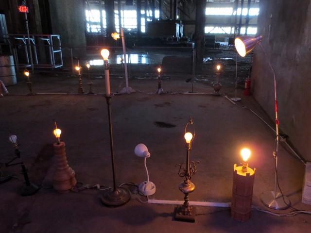 art installation with lamps at luminato hearn toronto
