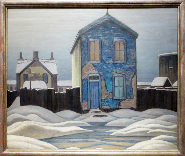 grey day in town painting by lawren harris toronto showing at ago exhibit curated by steve martin
