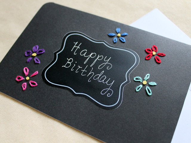 Handmade birthday card coloured embroidery on black loulou downtown handmade greeting card bright embroidery on black paper bookmarktalkfo Images