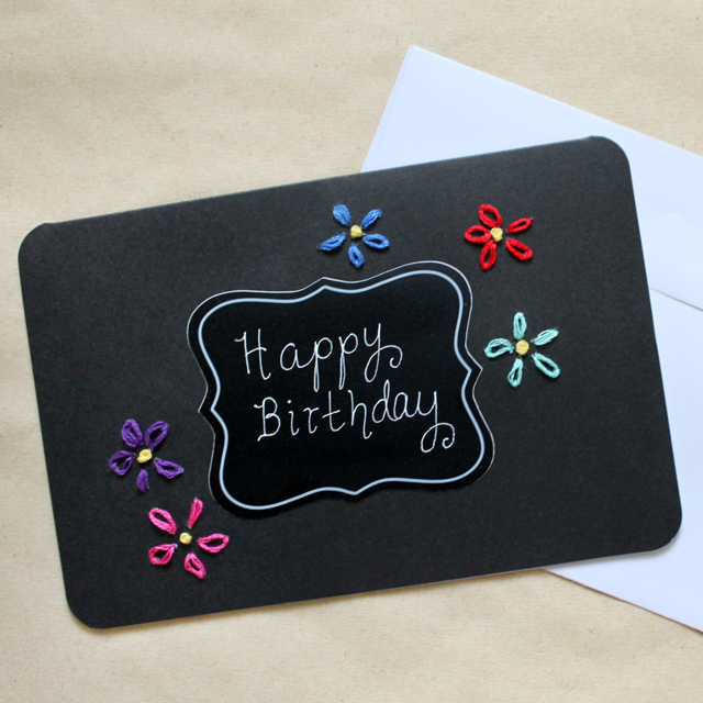Handmade Birthday Card Coloured Embroidery On Black Loulou Downtown