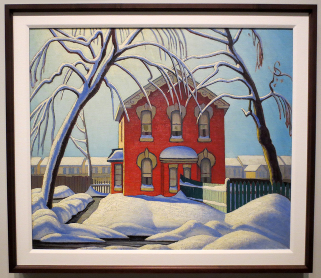 lawren harris painting red house winter at ago exhibit curated by steve martin
