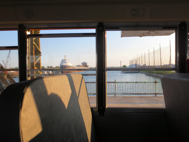 on shuttle bus