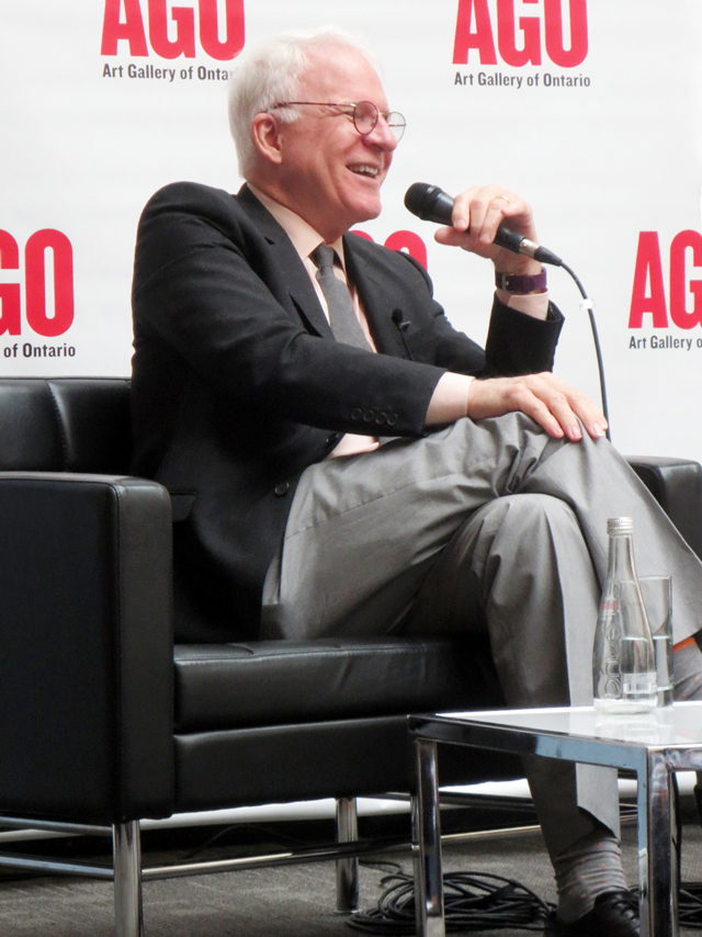 steve martin at ago toronto discussing the idea of north paintings of lawren harris exhibition