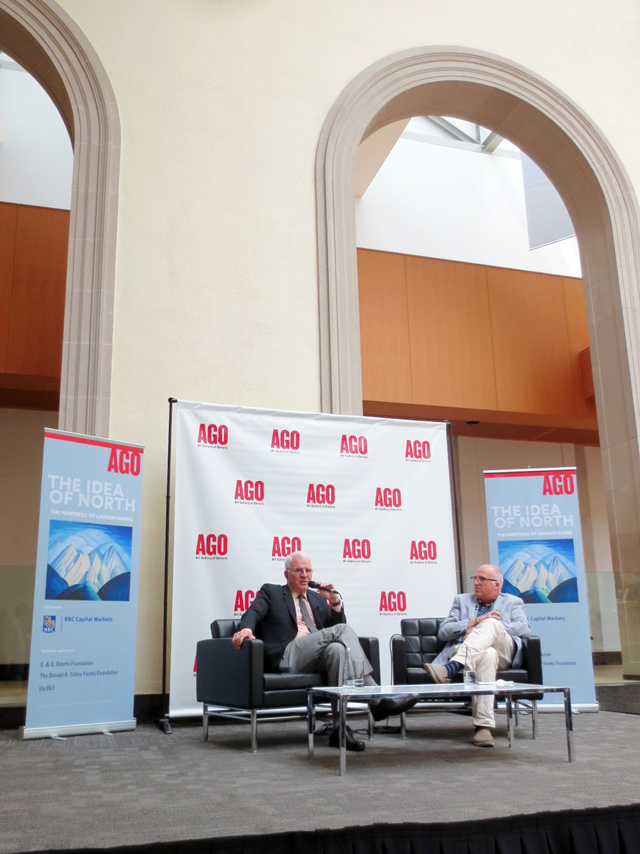 steve martin at the ago with andrew hunter discussing lawren harris exhibition