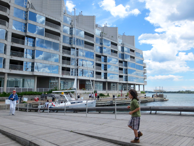 toronto boardwalk along waterfront queen quay