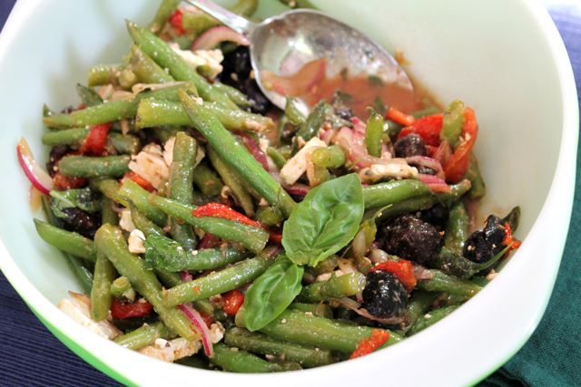 marinated antipasto salad with green beans roasted peppers olives feta basil