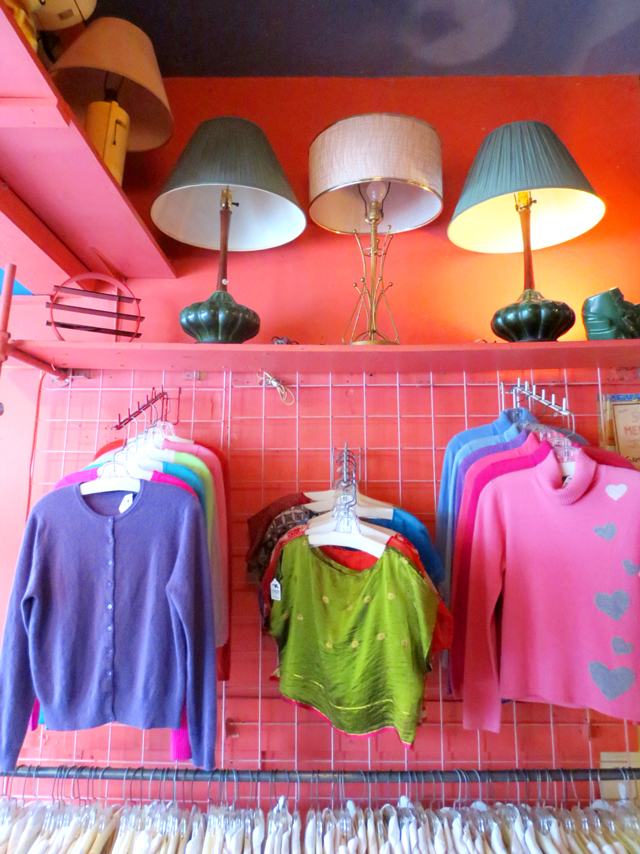 vintage cashmere sweaters and silk tops at courage my love toronto kensington market