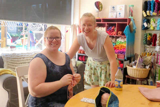 yarns untangled shop founder amelia right and a friend