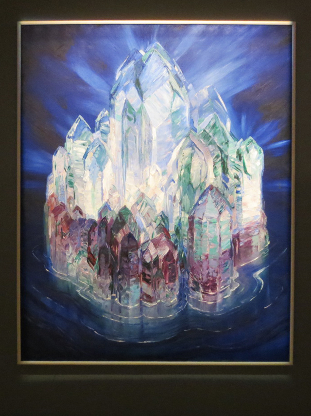 painting-by-wenzel-hablik-crystal-castle-at-sea-at-ago-toronto-mystical-landscapes-show