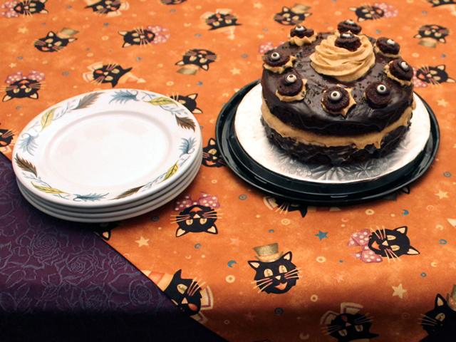 halloween cake and vintage plates