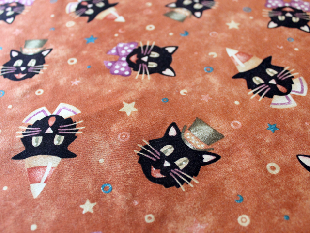 halloween print cotton fabric with a vintage look