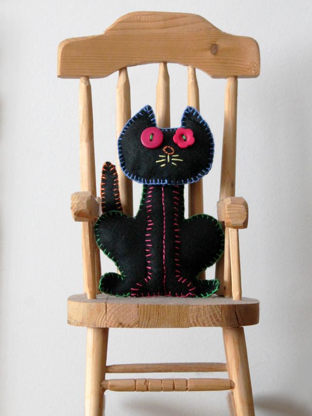 handmade embroidered cat halloween decoration dios de muerto