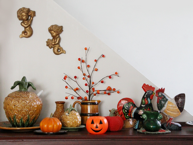 sideboard with halloween decor