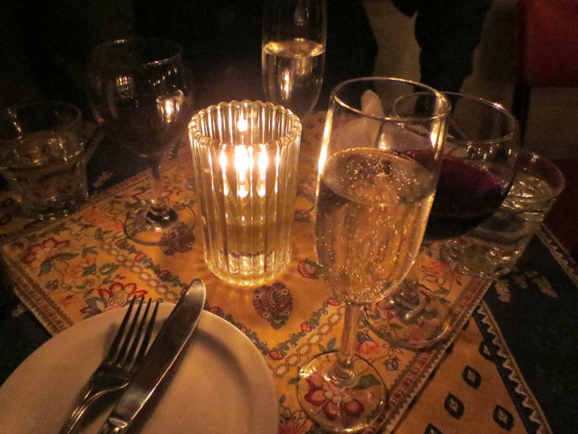 table with champagne