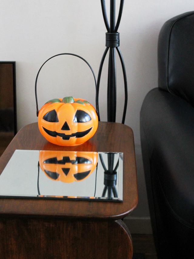 vintage blowmold halloween pumpkin found at thrift store