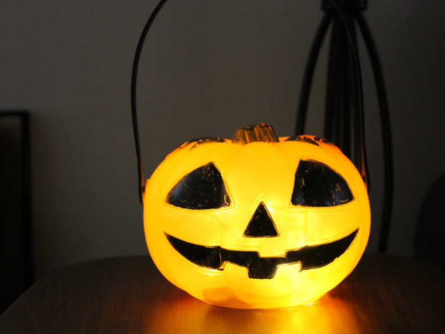 vintage halloween blowmold from thrift store jackolatern pumpkin
