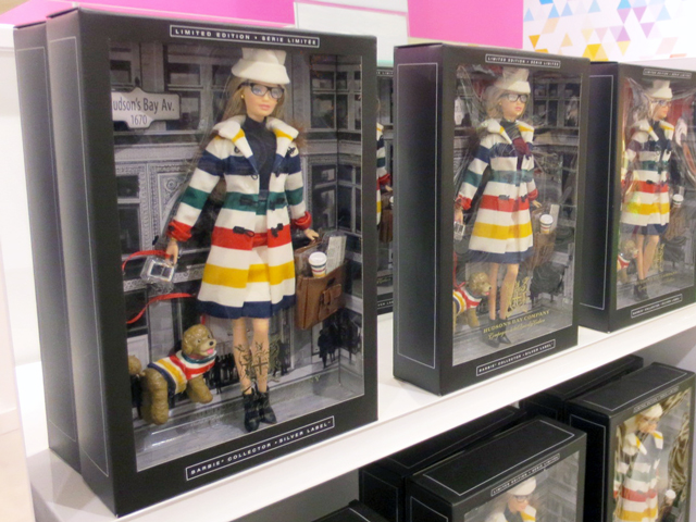 barbie with hudsons bay coat and skirt
