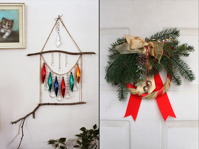 handmade ornament display wallhanging and christmas wreath