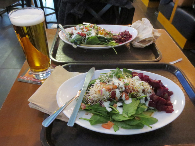 having a beer with lunch at eaton centre foodcourt toronto