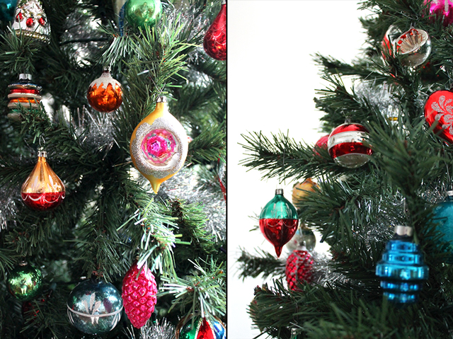 vintage blown glass christmas ornaments on the tree