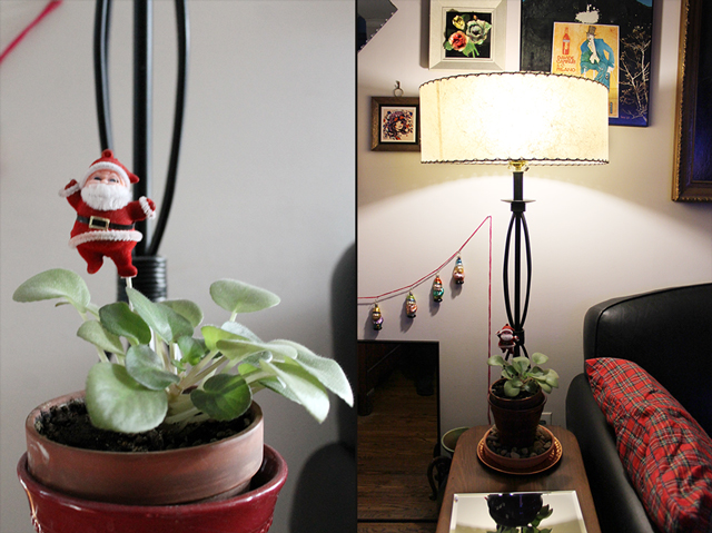 vintage santa pic in a plant