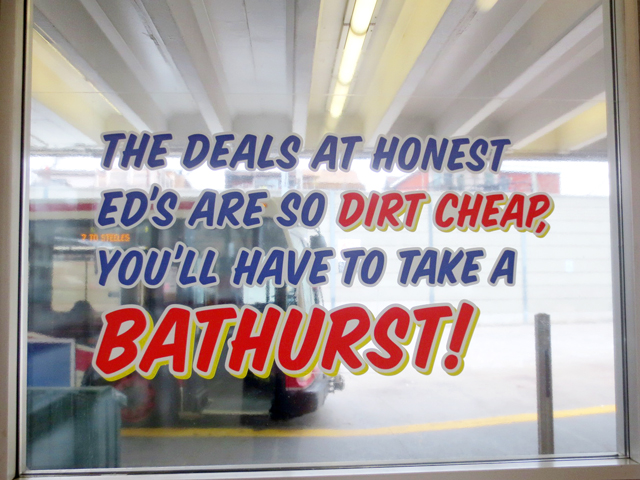 bathurst pun sign honest eds style art installation subway station