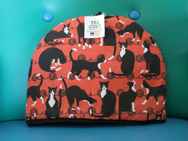 cat print tea cosy by now design from blue banana in kensington market toronto
