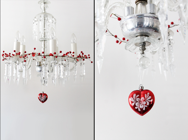 chandelier decorated for valentines day