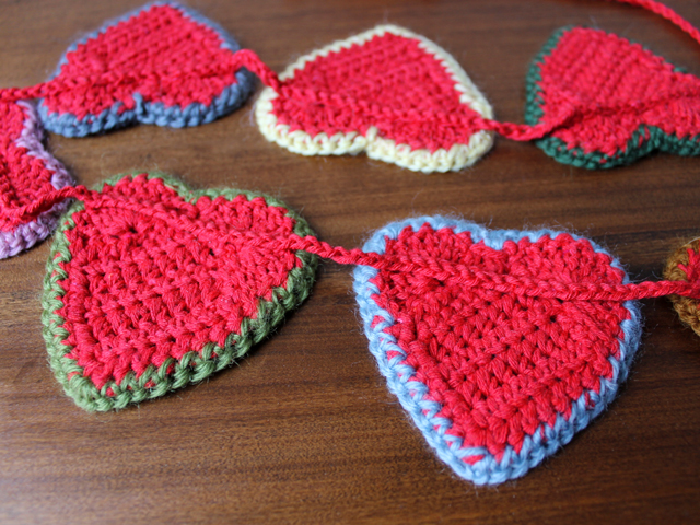 crocheted heart garland how to attach hearts to string
