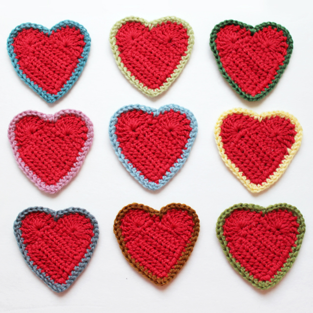 crocheted hearts three inches by three inches free pattern