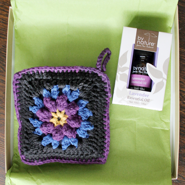 crocheted sachet with renewable scent insert and by nature lavender pure essential oil