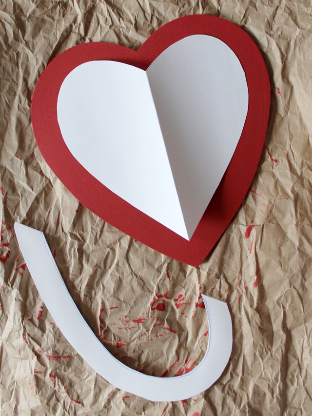 cut of edge evenly to make smaller heart