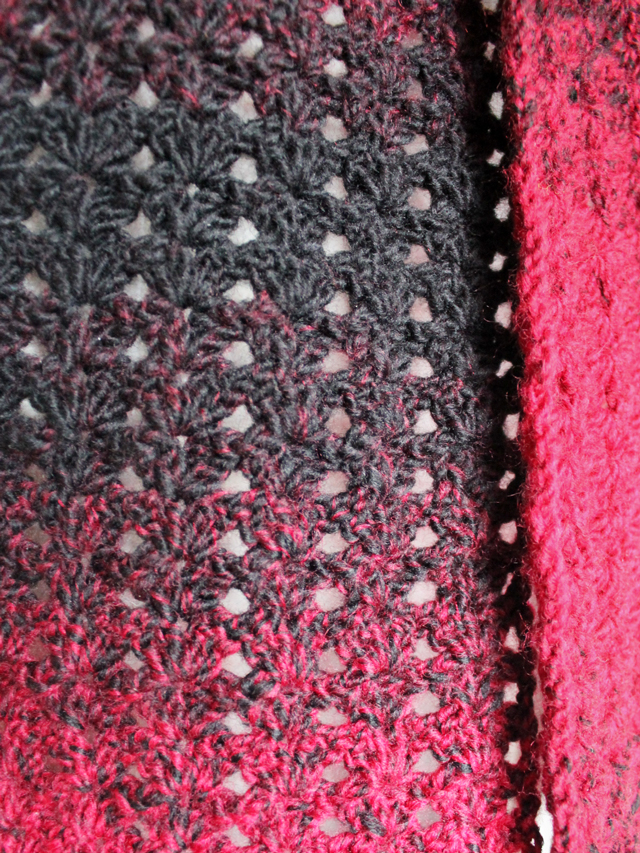 detail of crocheted shell stitch pattern