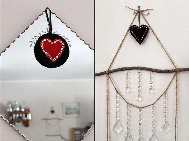 handmade felt heart valentine decorations